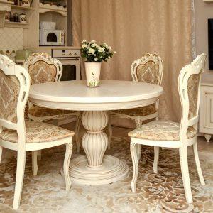 Круглый стол из дерева на кухню на заказ - столярная мастерская Treelogia