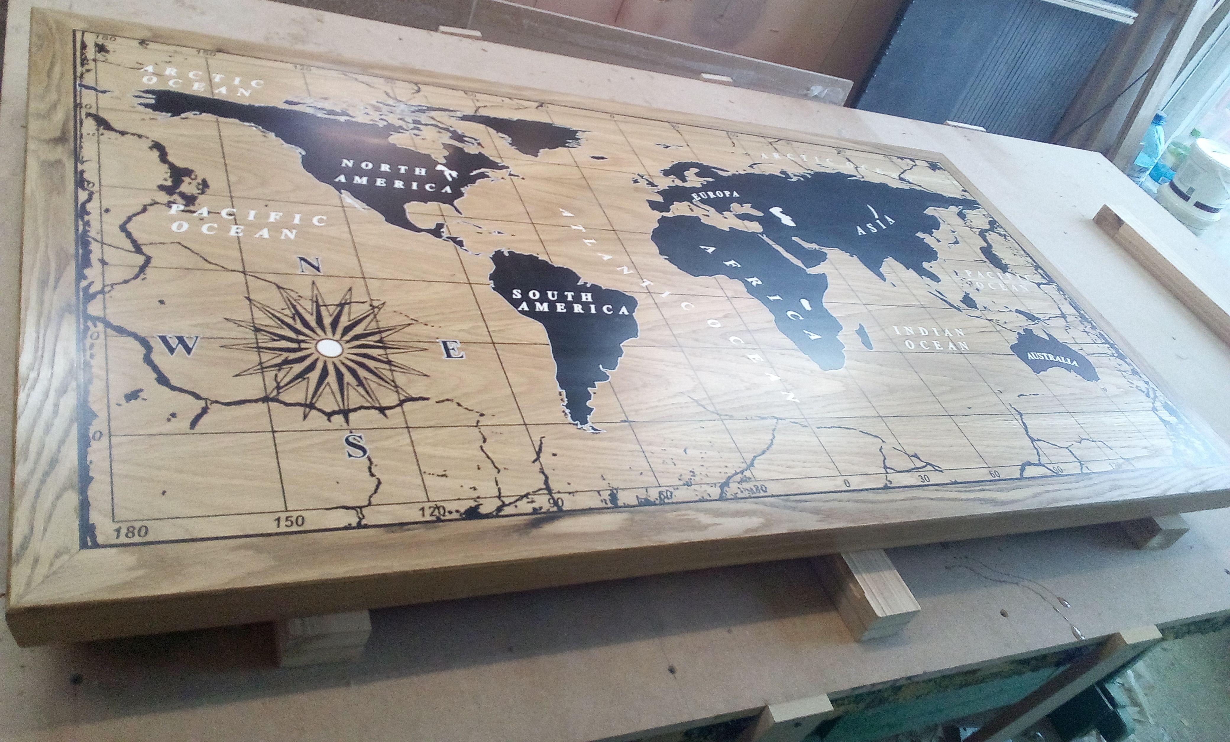 Столешница карта мира на заказ - столярная мастерская Treelogia