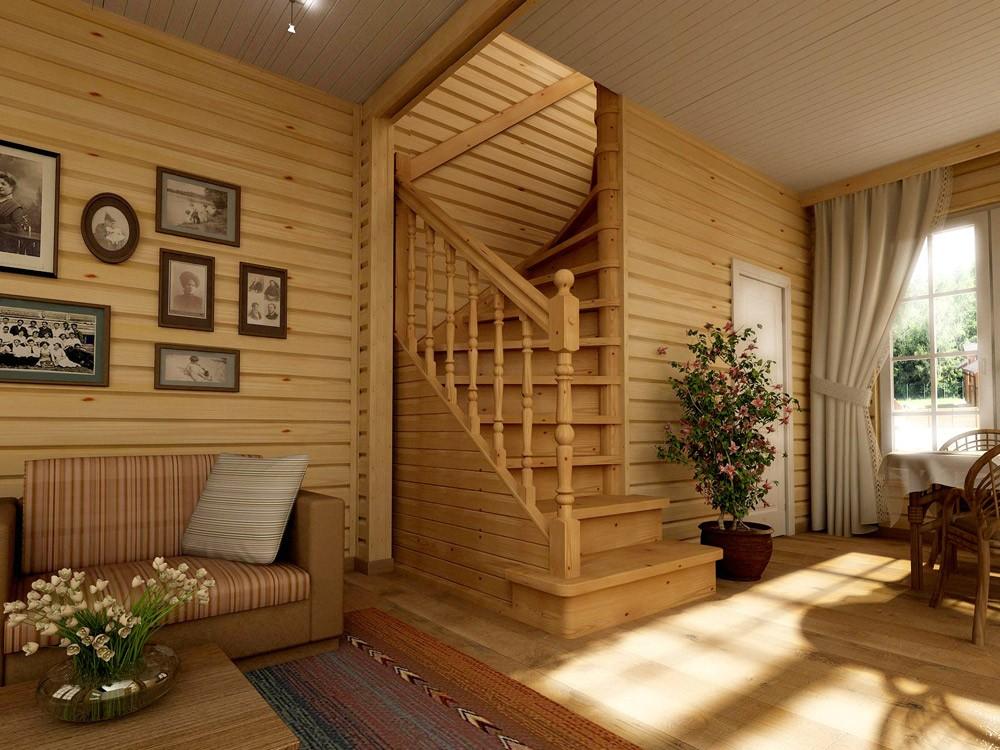 Купить деревянную лестницу для дачи в Екатеринбурге - Treelogia