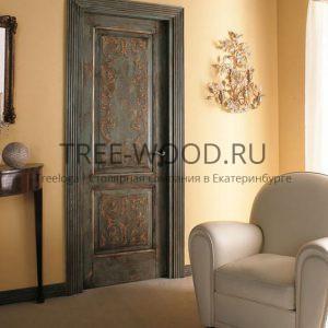 двери в стиле прованс с ручной росписью изготовлены из дуба