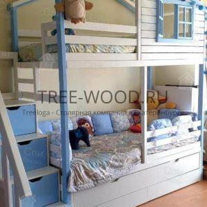 Детская двухъярусная кроватка домик